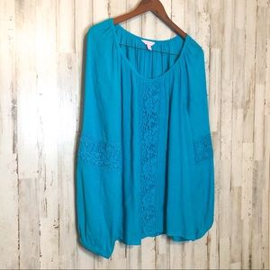 Lilly Pulitzer Turquoise Woven Top